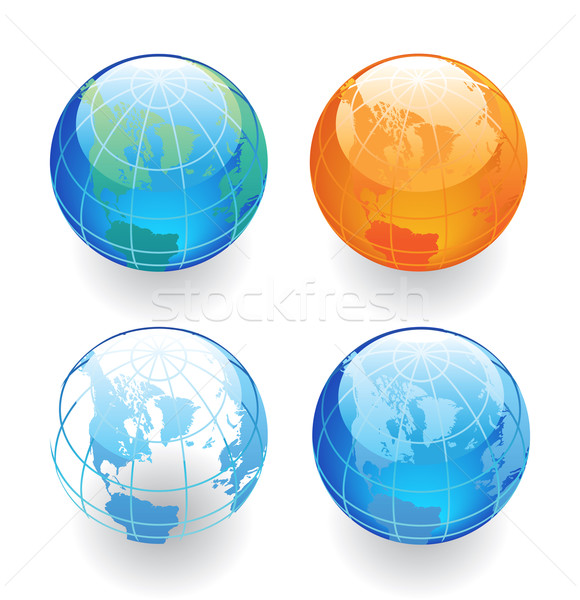 Quatre globes couleurs monde carte Photo stock © ildogesto