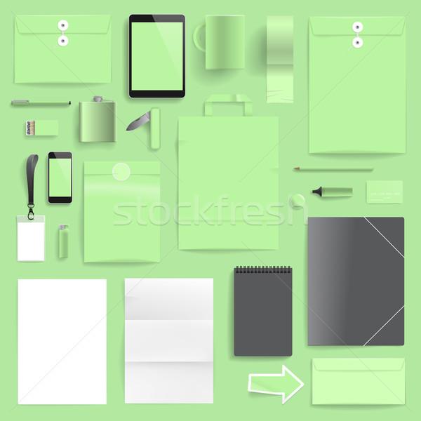 корпоративного личности шаблон светло-зеленый слой печать Сток-фото © ildogesto