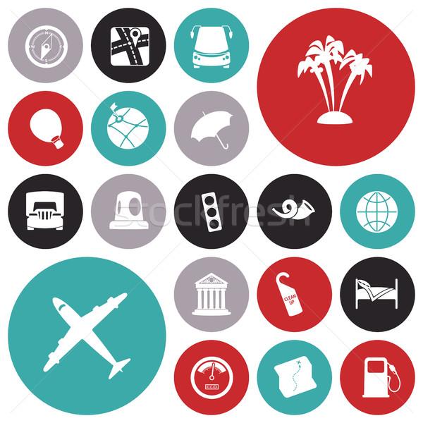 Ontwerp iconen reizen vervoer wereldbol vrachtwagen Stockfoto © ildogesto
