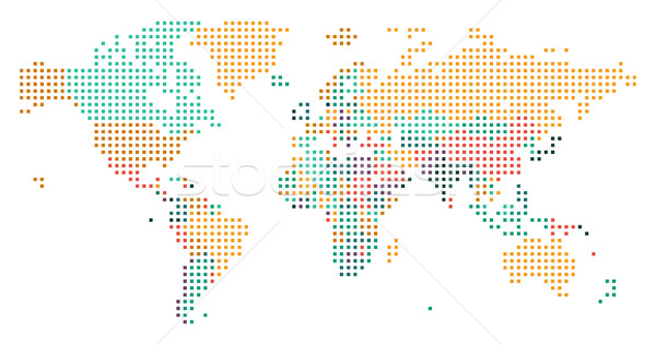 Dotted World map with countries borders Stock photo © ildogesto