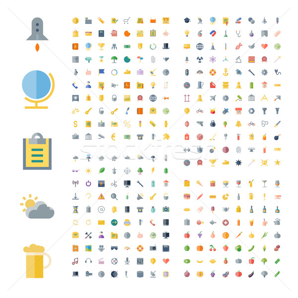 Icons for business, technology, industrial, food and drinks Stock photo © ildogesto