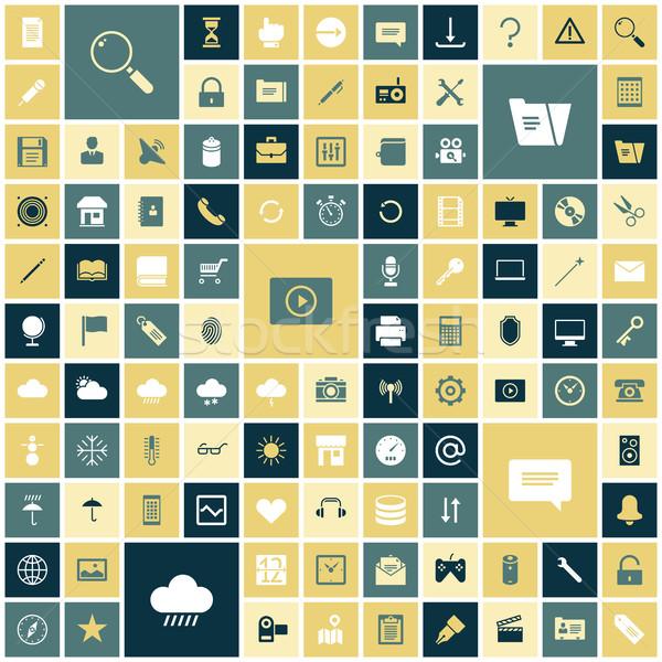 Projektu ikona użytkownik interfejs muzyki laptop Zdjęcia stock © ildogesto
