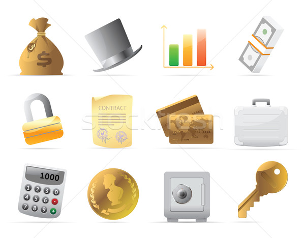Icons for  finance, money and security Stock photo © ildogesto