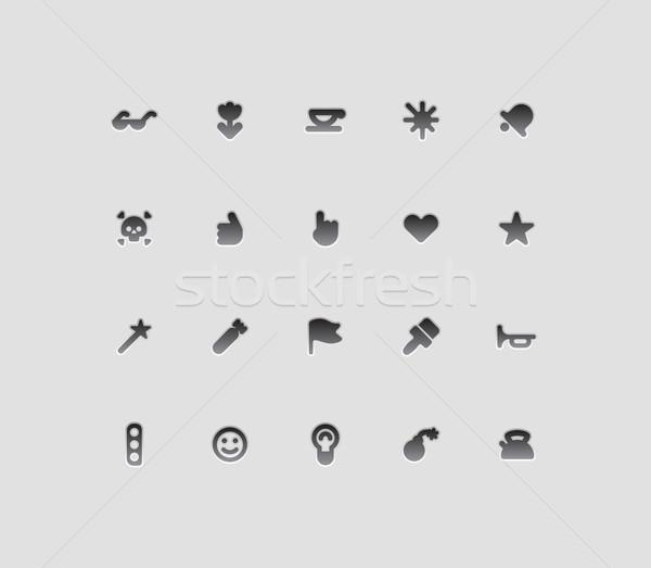 Foto stock: Interface · ícones · flor · mão · sorrir · assinar