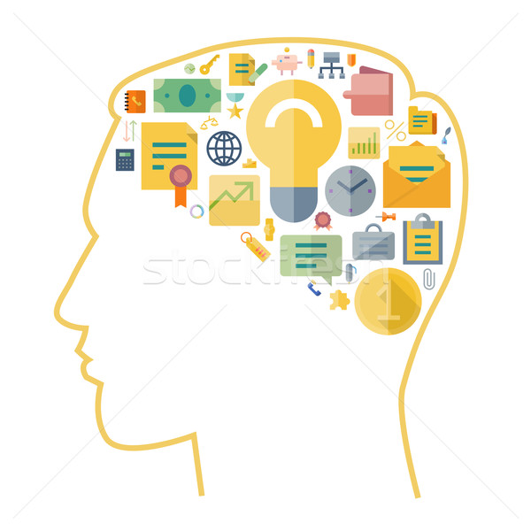 ícones negócio cérebro humano forma segurança carta Foto stock © ildogesto