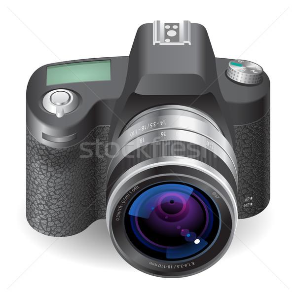 Ikon kamera fehér felirat fekete bőr Stock fotó © ildogesto