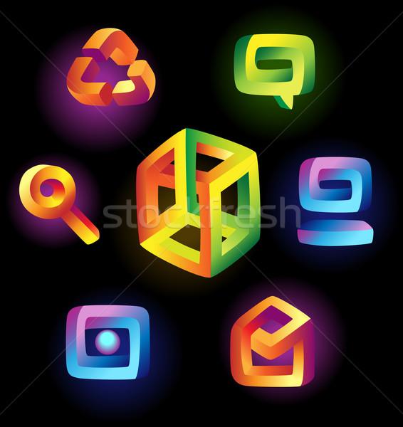 Magic icons on black background Stock photo © ildogesto