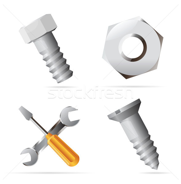 Icons for nuts and bolts Stock photo © ildogesto