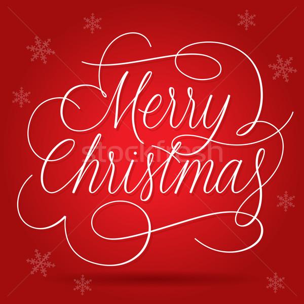 Vrolijk christmas leuze Rood eps10 Stockfoto © ildogesto