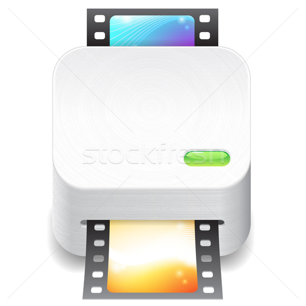 Ikona film skaner biały tekstury projektu Zdjęcia stock © ildogesto
