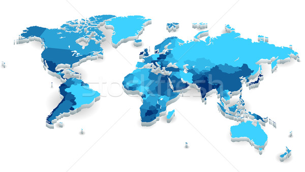 Extruded World map with countries Stock photo © ildogesto