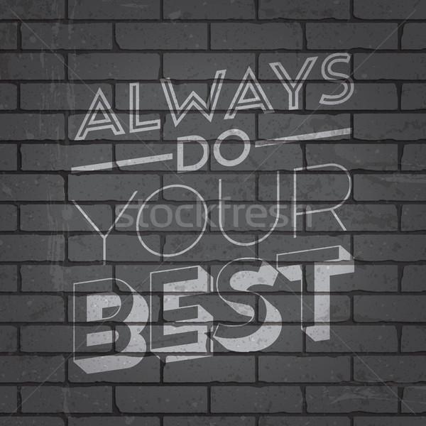 Dessinés à la main slogan mur de briques grunge gris design Photo stock © ildogesto