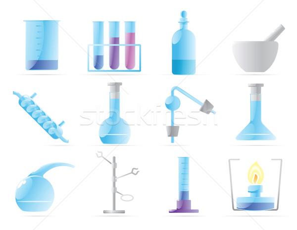 Simgeler kimyasal laboratuvar cam eğitim imzalamak Stok fotoğraf © ildogesto