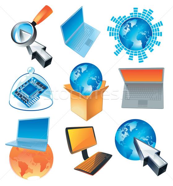 Számítógép üzlet fogalmak számítógépek világ Föld Stock fotó © ildogesto