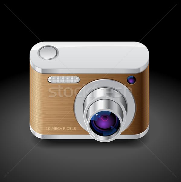 Icona compatto foto fotocamera decorato legno Foto d'archivio © ildogesto