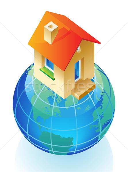 Földgömb ház ötlet üzlet terv otthon Stock fotó © ildogesto