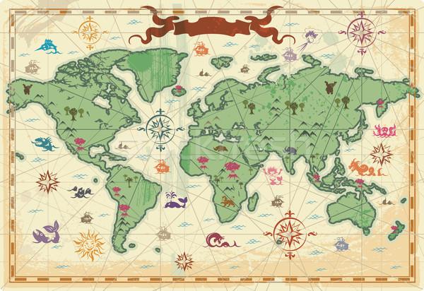 Színes ősi világtérkép térkép világ fák Stock fotó © ildogesto