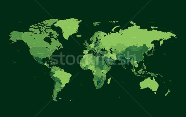 темно зеленый подробный Мир карта цветами мира Сток-фото © ildogesto