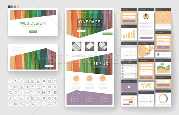 Diseño web plantilla interfaz elementos sitio web uno Foto stock © ildogesto
