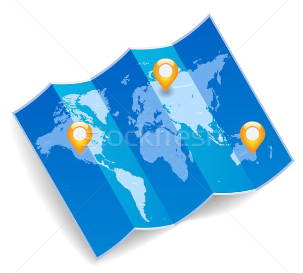 Мир карта GPS синий сложенный карта дизайна Сток-фото © ildogesto