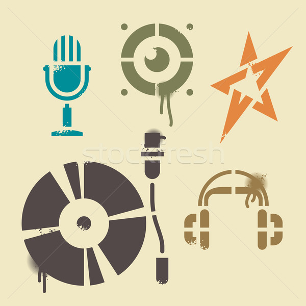 Stencil music icons Stock photo © ildogesto