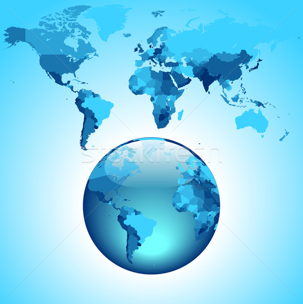 Globe on blue World map Stock photo © ildogesto