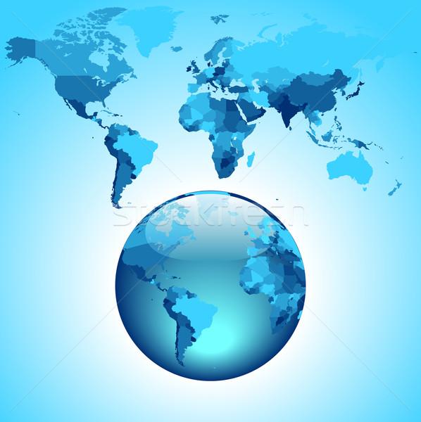 Monde bleu carte du monde terre Afrique planète Photo stock © ildogesto
