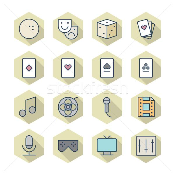 Dun lijn iconen recreatie vector eps10 Stockfoto © ildogesto