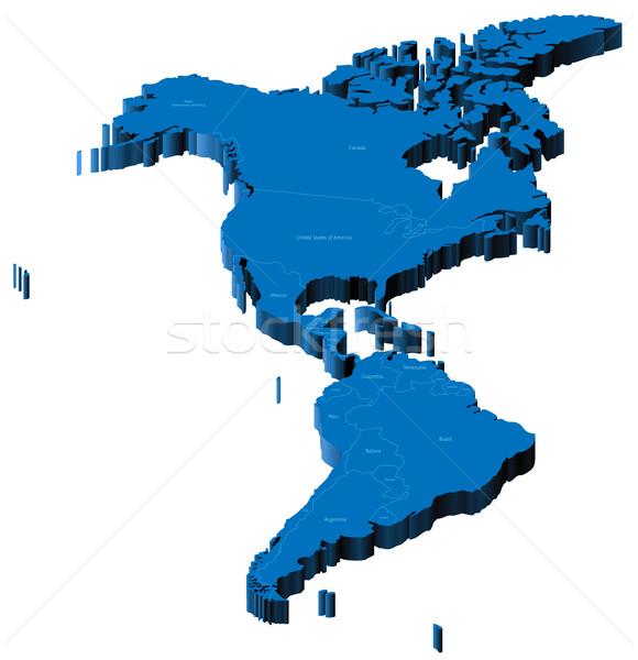 3d map of Americas Stock photo © ildogesto