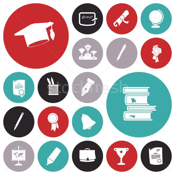 Flat design icons for education Stock photo © ildogesto