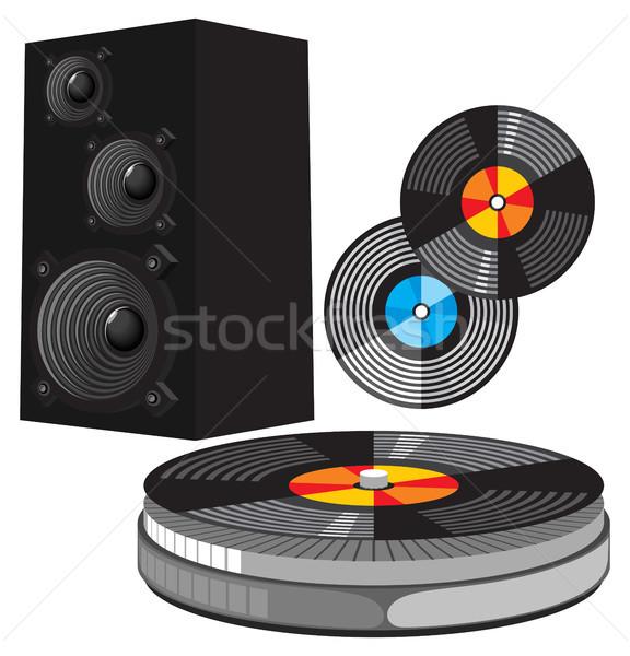 Disco équipement musical orateurs tourne-disque boîte Photo stock © ildogesto