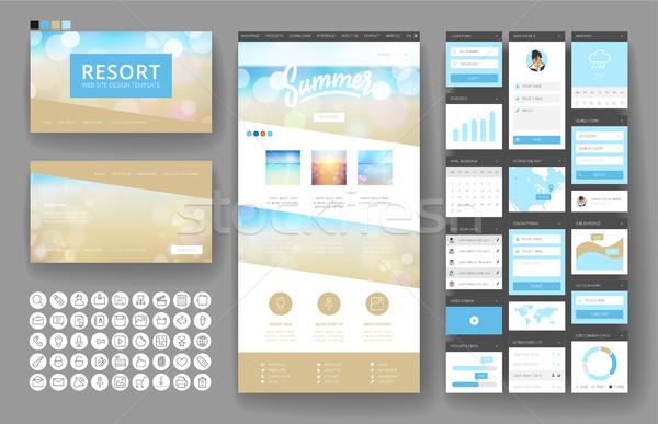 Website design template and interface elements Stock photo © ildogesto