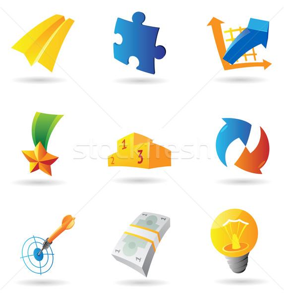 Stockfoto: Iconen · business · symbolen · geld · teken · Blauw