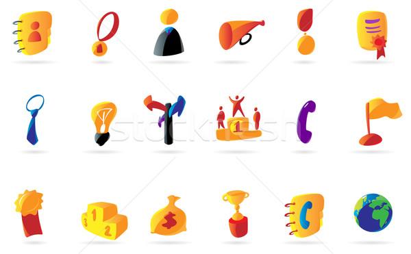 Colorful business and success icons Stock photo © ildogesto