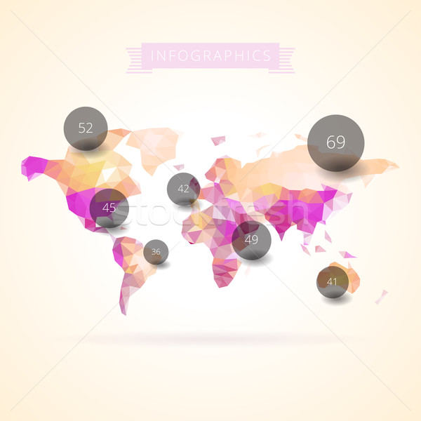 World map with infographics elements Stock photo © ildogesto