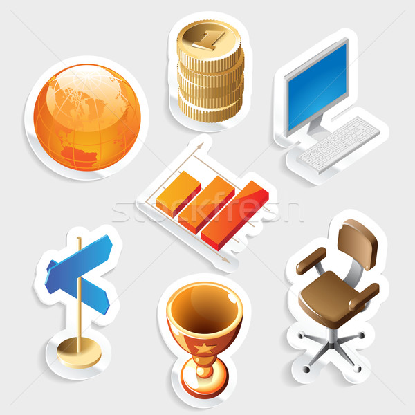 Sticker icon set for business and money Stock photo © ildogesto