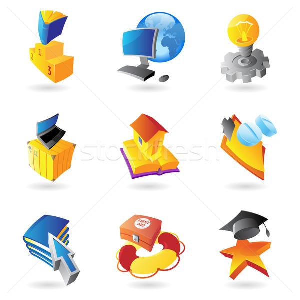 Iconen wetenschap onderwijs geneeskunde boek gebouw Stockfoto © ildogesto