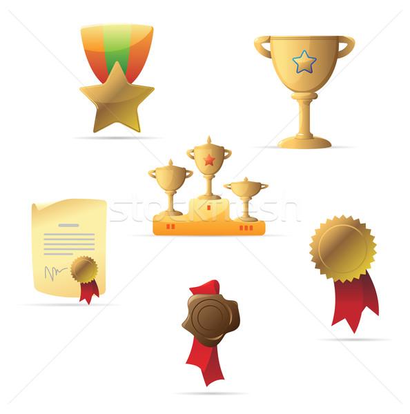Symbole Auszeichnungen Zeichen Sterne Tasse Band Stock foto © ildogesto