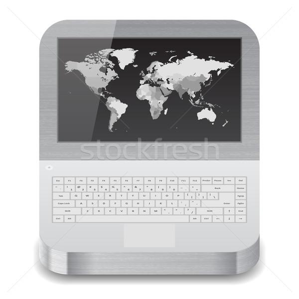Zdjęcia stock: Ikona · laptop · mapie · świata · Widok · biały · tekstury