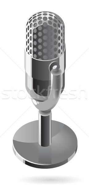 Isométrica ícone microfone metálico projeto metal Foto stock © ildogesto
