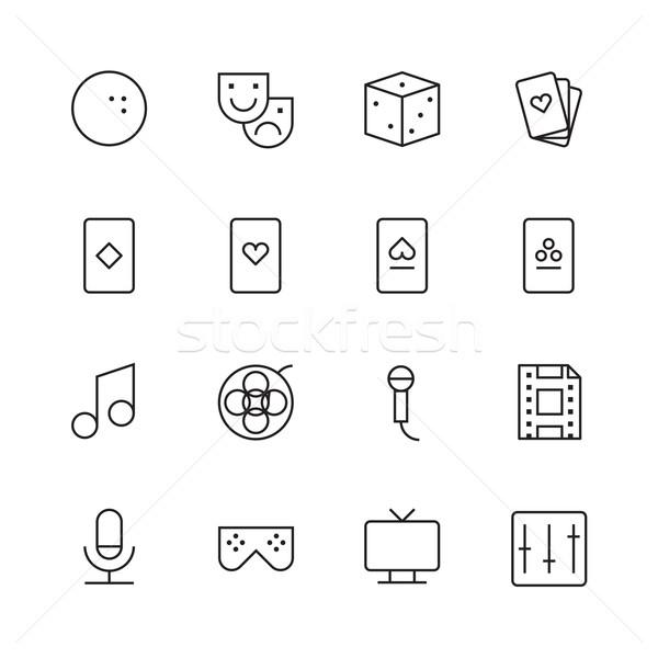 Thin Line Icons For Leisure Stock photo © ildogesto