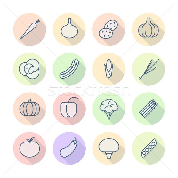 Сток-фото: тонкий · линия · иконки · овощей · вектора · eps10