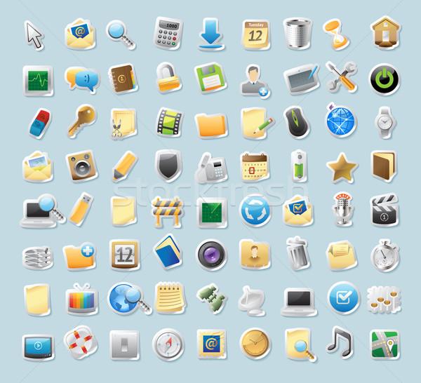 Matrica ikonok feliratok interfész gomb szett Stock fotó © ildogesto
