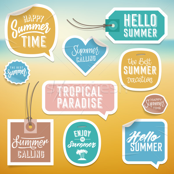 Summer holiday vacation stickers and labels Stock photo © ildogesto