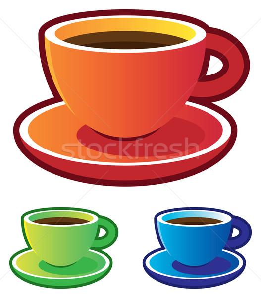 Coloré icônes tasses de café bleu rouge thé Photo stock © ildogesto