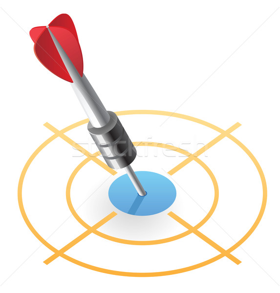 Stock photo: Isometric icon of dart in target