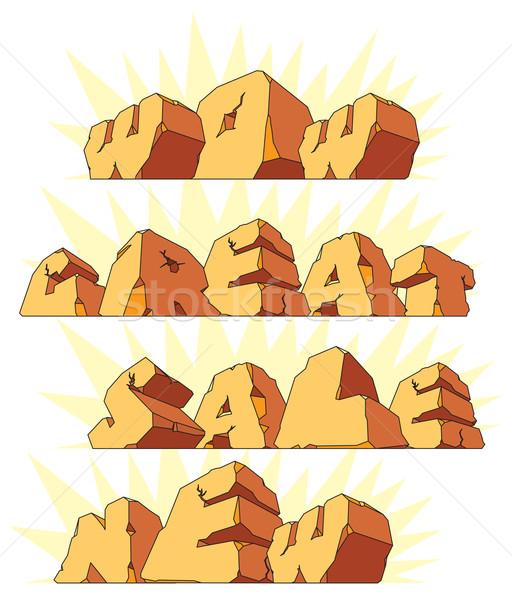Alfabet kamień słowa wow sprzedaży Zdjęcia stock © ildogesto