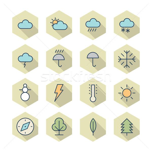 Thin Line Icons For Weather and Nature Stock photo © ildogesto