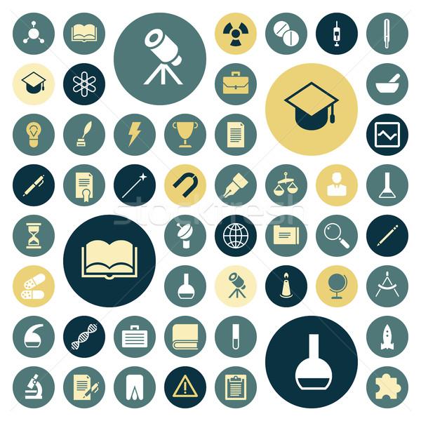 Ontwerp iconen onderwijs wetenschap medische boek Stockfoto © ildogesto