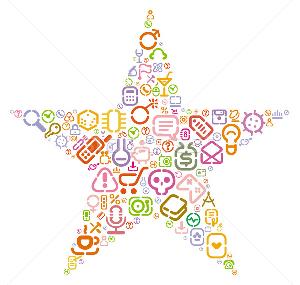 Stencil iconen star vorm web computer Stockfoto © ildogesto